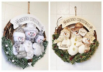 Festive Christmas Wreath with cuddly plush Snowmen motive Silver and Gold