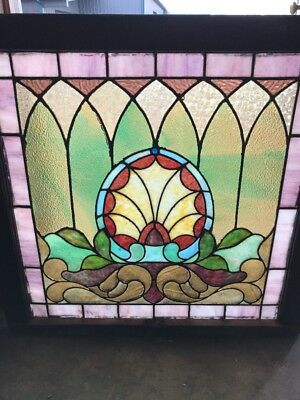 SG 1703 antique Stainglass landing window Schll Dezang 30.5 x 29 1/2 high