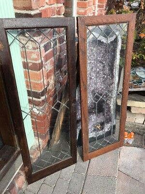 Sg 1707 2 Available Price Separate Antique Leaded Glass Bookcase Doors 18 X 48