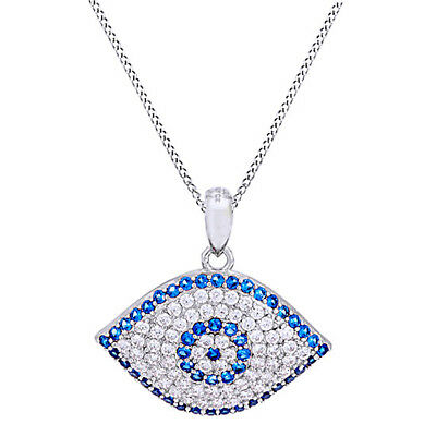 1.00 Ct D/VVS1 Evil Eye Pendant w/ Chain 14K White Gold Over Sterling Silver