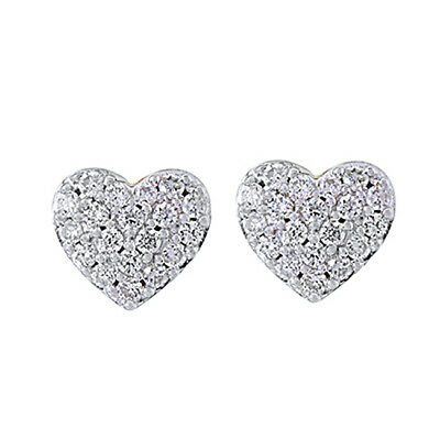 1/5 Ct Round Cut Diamond Sterling Silver Mini Heart Stud Earrings Valentine Gift