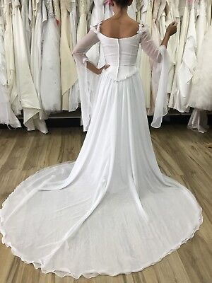Renaissance Wedding Dress.Demetrios Ilissa Bohemian Renaissance Wedding Dress Bell Sleeve White Size 4