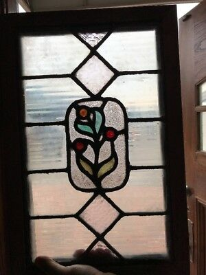 Sg 1715 Antique Stain Glass Flower Window 13 X 20
