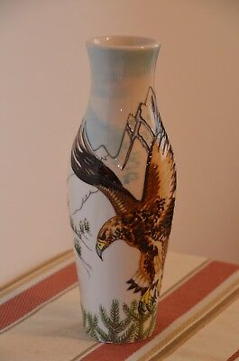 A MOORCROFT VASE, 'EAGLE OVER SNOWY MOUNTAINS', Trial dated 28.11.16