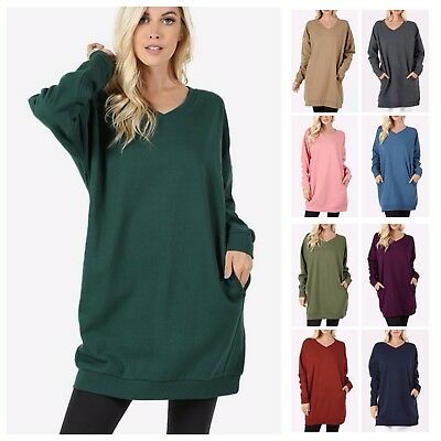 Women's Casual V-Neck Long Sleeve Over-Sized Tunic Top Sweatshirts Sweater S~3XL
