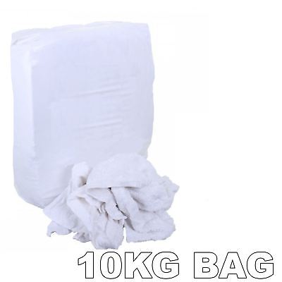 10KG Bag of 100% White Cotton Sheet Lint Free Cleaning Rags / Wipers