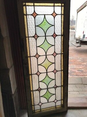 SG 1724 antique Stainglass transom window Opaque 20 H by 52.5
