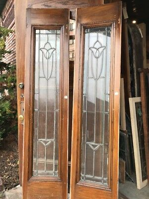 SG 1725 match Pair antique tulip beveled sidelight windows in oak 16.25 x 80