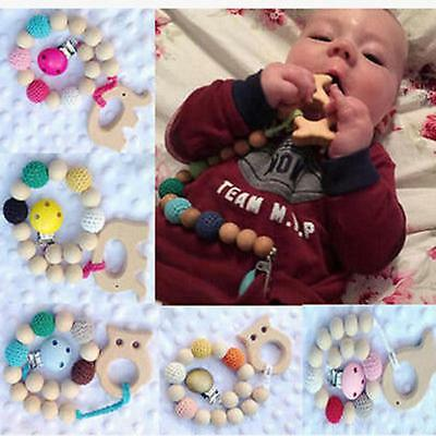 Wood Crochet Bead Teether Pacifier Clip Cute Animal Theething Rings Grasping Toy
