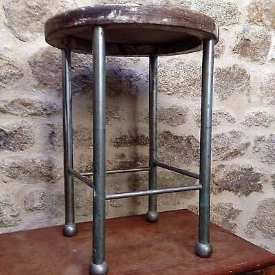 French Mid Century Industrial Vintage 4 Legged Wooden Stool with Chromed Legs