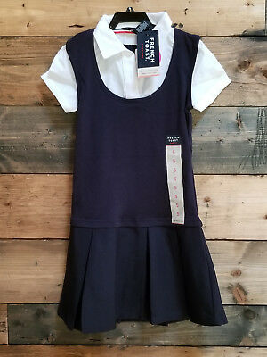 New French Toast  Girls 2 In 1 Pleated Dress - Navy  -All Sizes