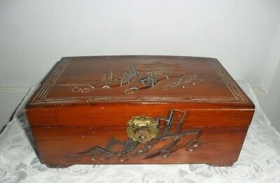 Hand Carved Wooden Jewelry Box - Beautiful Vintage/Antique - Oriental Carvings