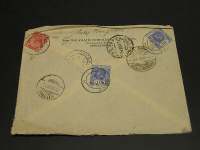Singapore 1922 registered cover to Finland via Italy rough top edge *1270