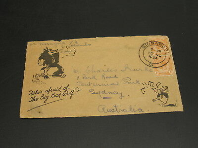 Singapore 1934 disney big bad wolf cover front only to Australia *1269