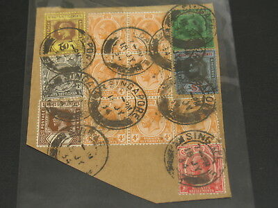 Singapore 1934 stamp on large piece 5 and 1 dolllar stamps *1268