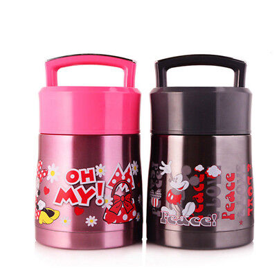 Kids Cartoon Stainless Steel Insulated Lunch Box Thermos Portable Food Jar Large