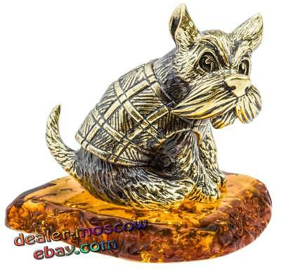Bronze Solid Brass Baltic Amber Humor Figurine Dog Schnauzer in a Vest Statuette