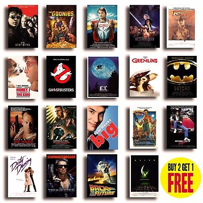 CLASSIC 80s MOVIE POSTERS A4/A3 Size Film Print Cinema Wall Decor Valentines Day