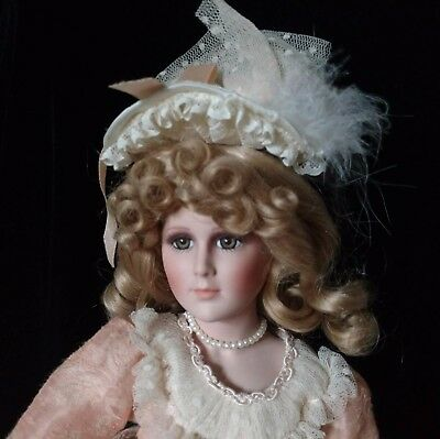 "Vintage porcelain Victorian doll with parasol. 19.5"" Delton Products corp."