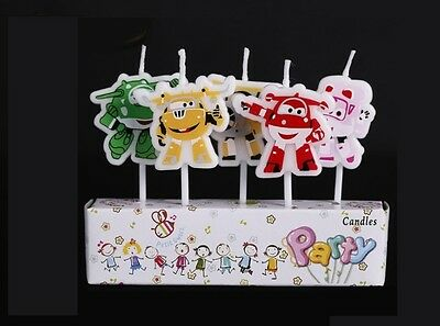 5 x Super Wings Candles Happy Birthday Cake Toppers Party