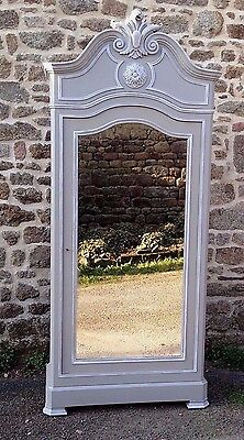 Pretty Antique French Painted Crested Armoire Wardrobe Linen Press Mirrored Door