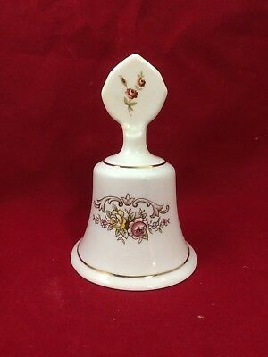 Vintage Staffordshire Fine Bone China Bell Pink Flowers from England