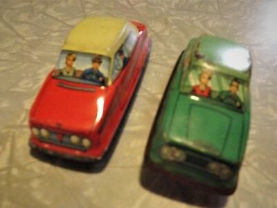 Vintage Tin Wind Up Cars - Lithograph - No Key