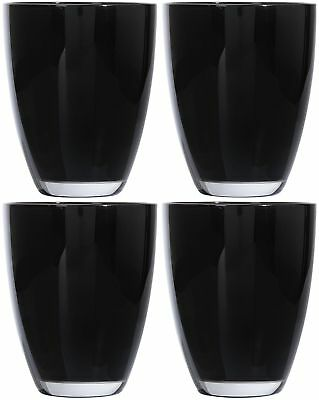 Black Glass Tumblers Drinking Glasses Set of 4 Hi Ball Opaque Cups Drinks Modern