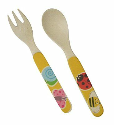 Ecobamboo Ware Kids/Babies/Toddlers Bamboo Utensil Set, Fork and Spoon,Bug Theme