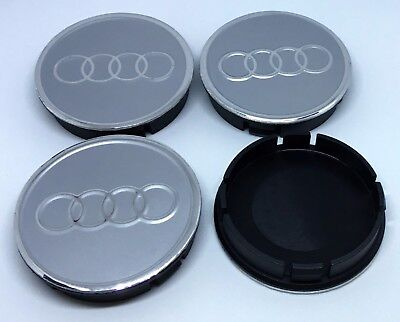 AUDI Wheel Center Hub Caps Aluminium For Alloy Wheels Rims 60mm Set x4 Silver