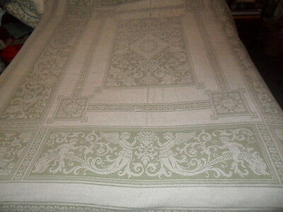 "ANTIQUE ALENCON FRENCH LACE TABLECLOTH- Mermaids.Dolphins,Cherubs- 66x82""-Beige"