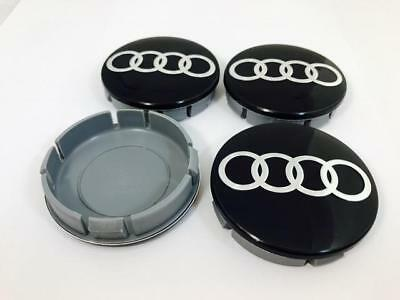AUDI Wheel Center Hub Caps Chrome For Alloy Wheels Rims 55/60mm Set x4 Black
