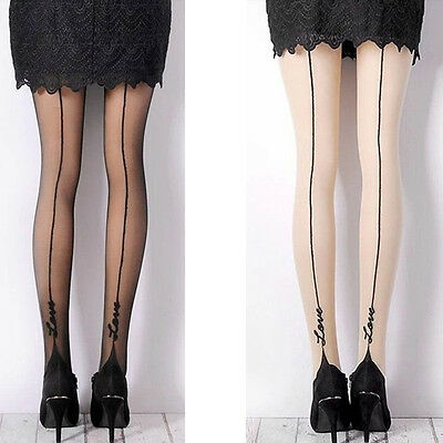 Women's Sexy Retro LOVE Tattoo Back Side line Stockings Pantyhose Tights Opaque·