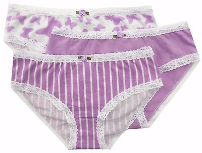 Esme Girls Comfortable Underwear L 7-8 Panty lavender stripe clearance