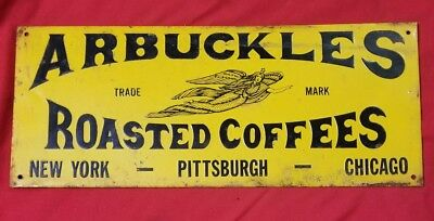 arbuckles roasted coffee  tin sign.