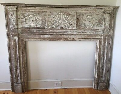 Antique 19th C. American Federal Painted Pine Wood Mantel Fireplace Surround