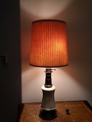 Rare Stiffel Antique Brass & Ivory Porcelain Lamp w/ Double Pull Lights 37 inch