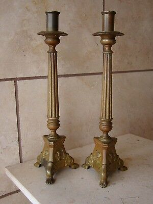 Pair Of Antique/Old Vintage Bronze/Brass Ornate Candle Holders w/Lions Paw Legs