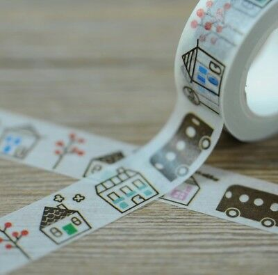 Town Houses Buses 1.5cm X 5m Washi Tape DIY Scrapbook Album Diary - n