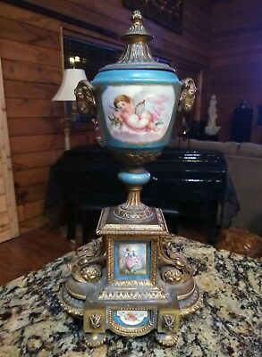 Bronze Dore garniture Porcelain Hand Painted Urn