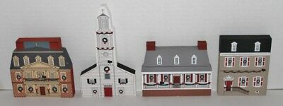 Vtg The Cats Meow Village Complete 4 Piece Colonial Village 1990 - New