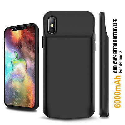 Apple iPhone X Battery Case 6000mAh Rechargeable Charger Portable Charging Cover