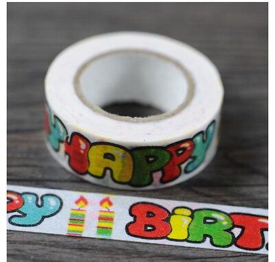 Happy Birthday 1.5cm X 7m Washi Tape DIY Scrapbook Album Diary - O