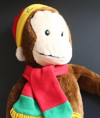 Large Curious George Plush Macys Stuffed Toy Winter Hat Scarf and Tiny Book  24""