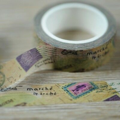 Travel Stamps Mail  1.5cm X 5m Washi Tape DIY Scrapbook Album Diary - O