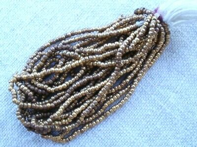 Antique French Steel Cut Beads Metal Micro Round Brass Hank New Old Dead Stock