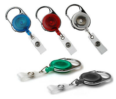 Heavy Duty CARABINER Retractable Badge Reel with Strap for ID Card Holder & Keys