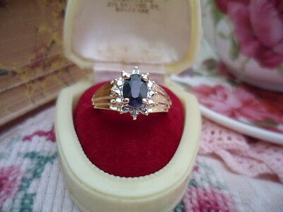 Antique Art Deco Vintage Gold Dark Blue Sapphire And Diamond Ring Small Size 6