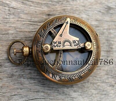 Antique Brass Pocket Compass Vintage Style Nautical Push Button Compass Gift