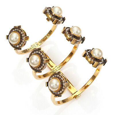 Alexander McQueen Exquisite Gold Tone Faux Pearl & Crystal Cage Cuff